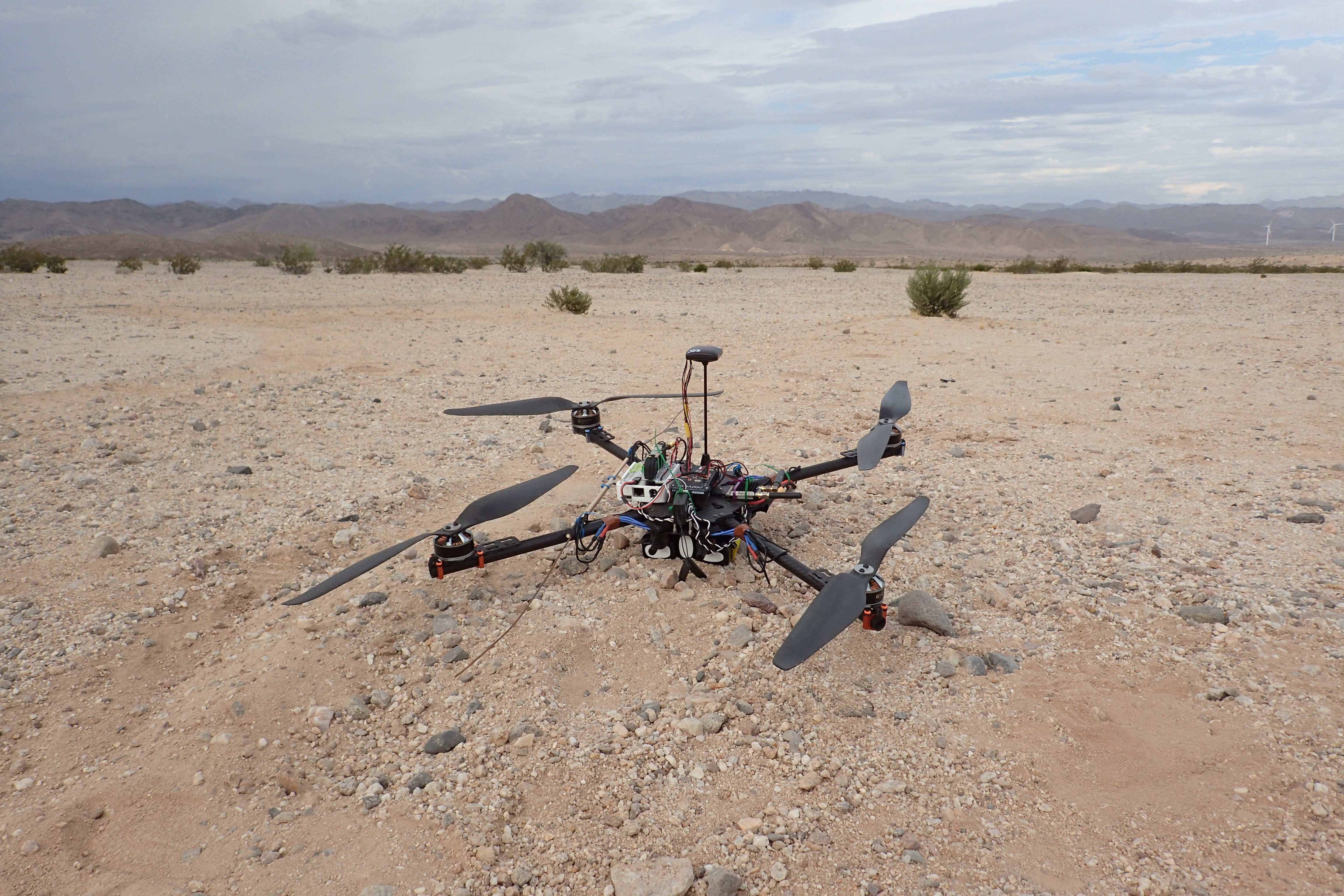 2015 Radio Collar Tracker during Desert Testing, Mojave Desert.  Photo Credit: Nathan Hui, UC San Diego
